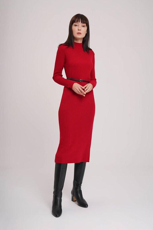 Balıkçı Yaka Triko Elbise (Kırmızı)