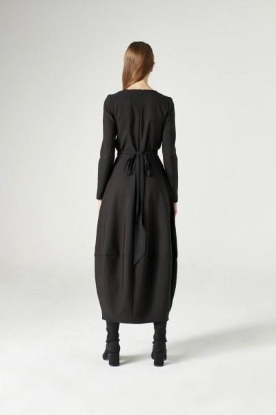 فستان بتنورة بالون (أسود) - Thumbnail