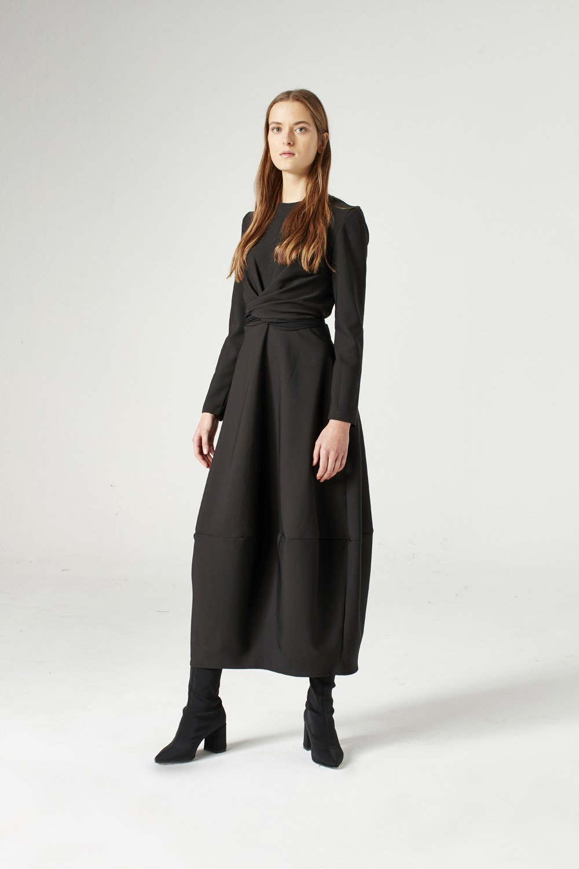 MIZALLE Balon Etekli Elbise (Siyah) (1)