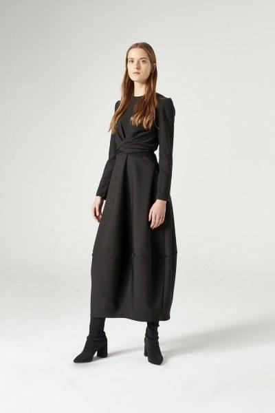 Balon Etekli Elbise (Siyah) (1)