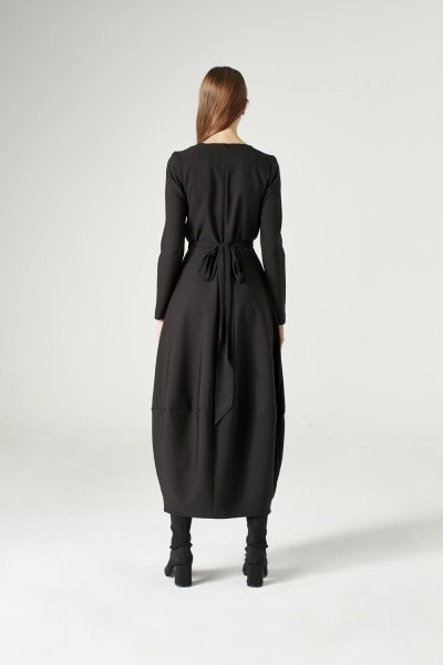 Balloon Skirted Dress (Black) - Thumbnail
