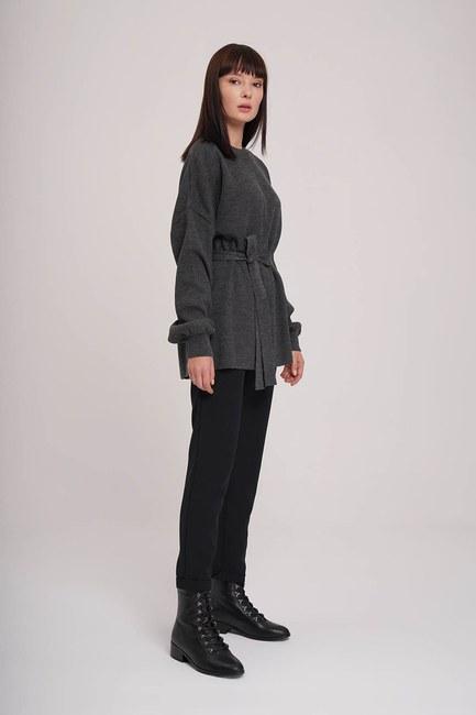 MIZALLE - Balloon Sleeve Sweater (Anthracite) (1)