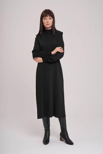 MIZALLE - فستان سترة بأكمام بالون (أسود) (1)