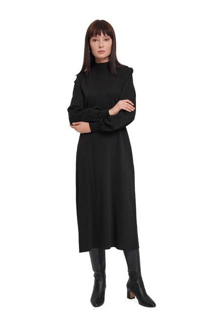 Balon Kol Triko Elbise (Siyah) - Thumbnail