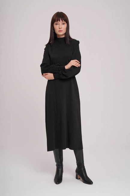 MIZALLE - Balloon Sleeve Tricot Dress (Black) (1)