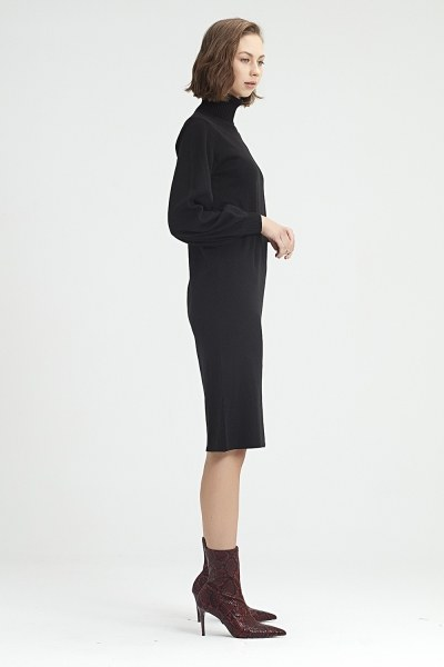 فستان تريكو بإكمام بالون (أسود) - Thumbnail