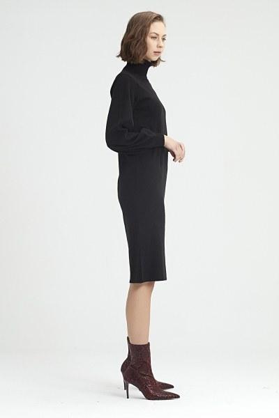 Balloon Sleeve Tricot Dress (Black) - Thumbnail