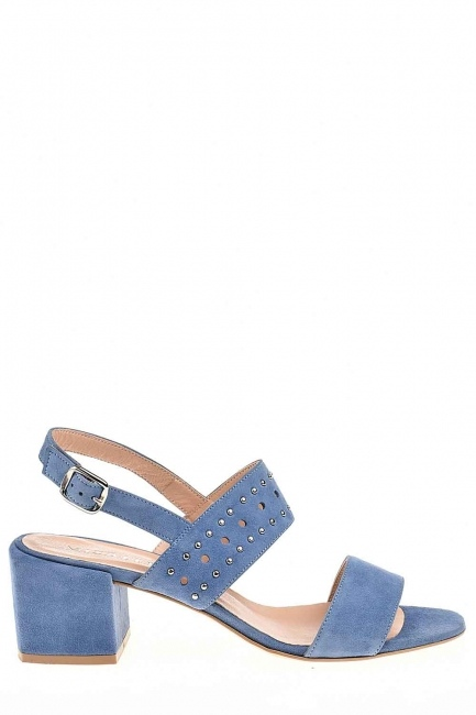 Banded Suede Leather Shoes (Blue) - Thumbnail