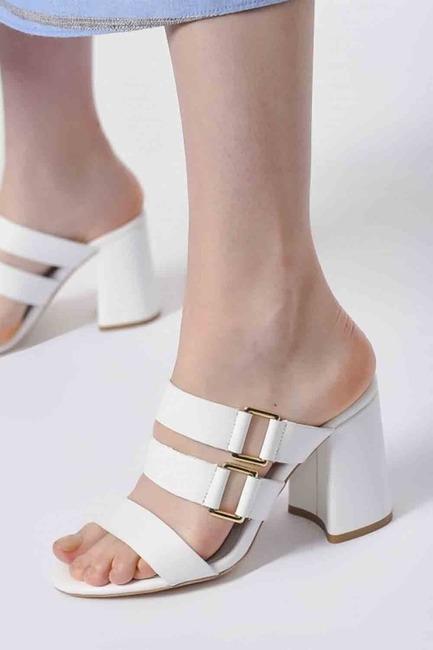 Mizalle - Bantlı Ayakkabı (Beyaz)