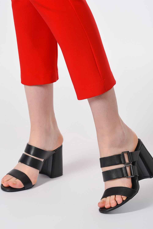 MIZALLE Bantlı Ayakkabı (Siyah) (1)