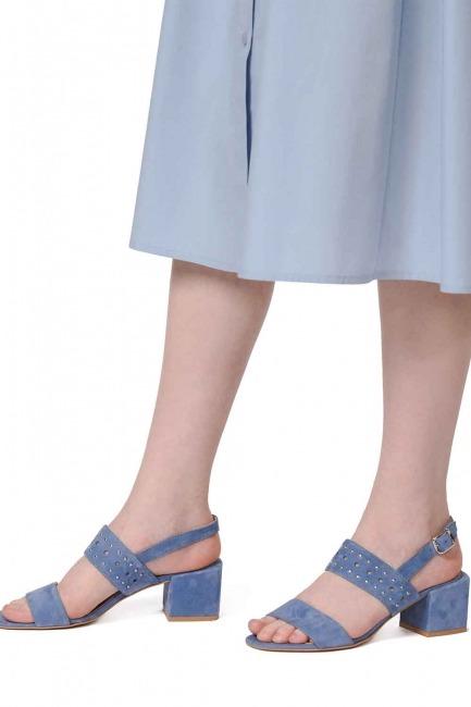 MIZALLE - Bantlı Süet Ayakkabı (Mavi) (1)