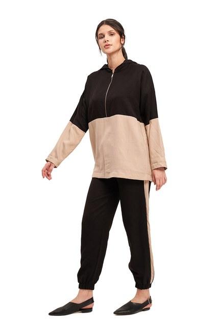 Mizalle - Basic Bağcıklı Salaş Pantolon (Bej)