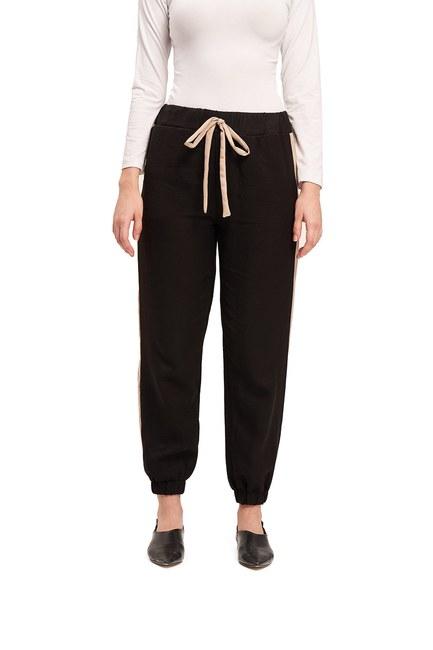 Mizalle - Basic Bağcıklı Salaş Pantolon (Bej) (1)