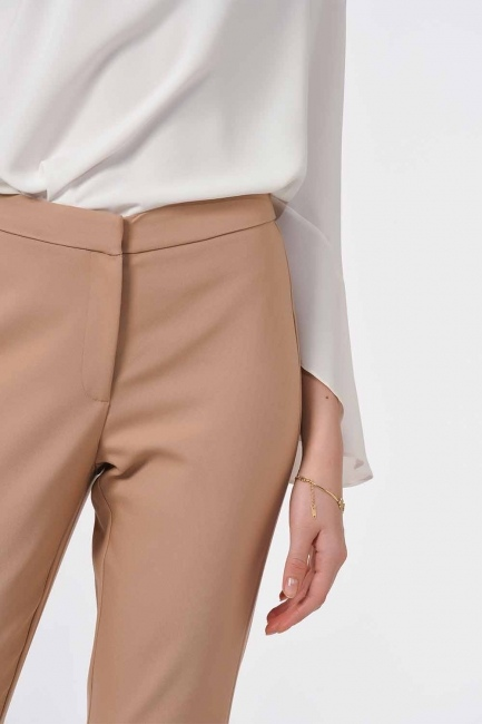 Basic Narrow Trousers (Beige) - Thumbnail