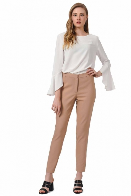MIZALLE Basic Narrow Trousers (Beige)