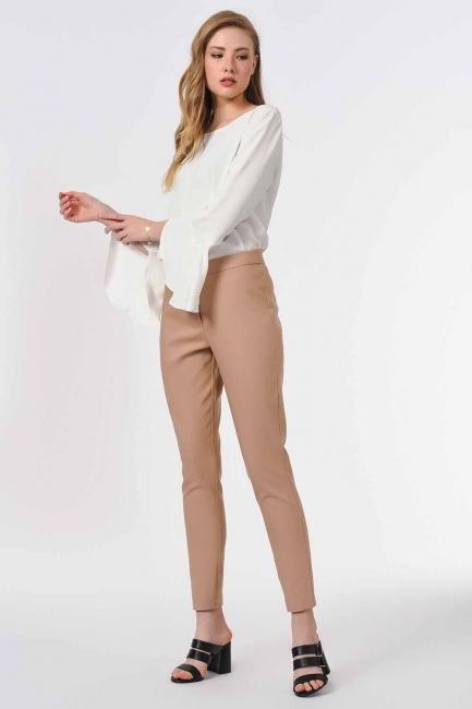 MIZALLE - Basic Dar Paça Pantolon (Bej) (1)