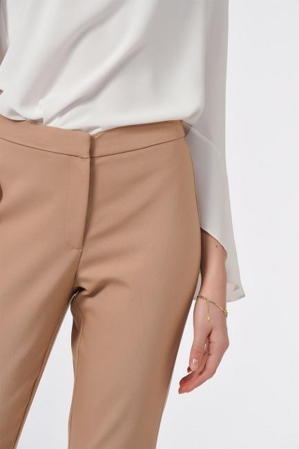 Basic Dar Paça Pantolon (Bej) - Thumbnail
