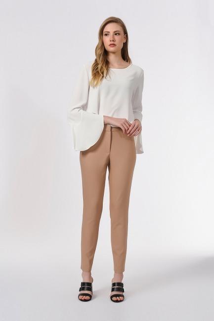 Mizalle - Basic Dar Paça Pantolon (Bej)