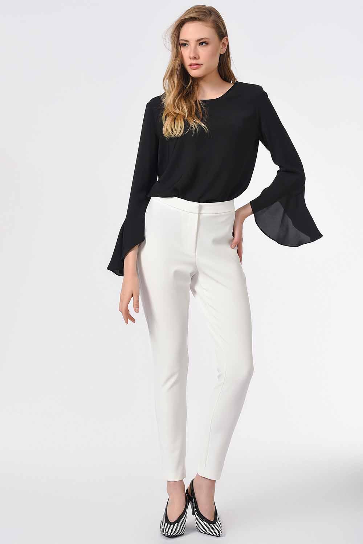 MIZALLE Basic Dar Paça Pantolon (Ekru) (1)