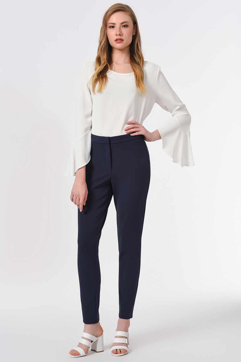MIZALLE Basic Narrow Trousers (Navy Blue) (1)