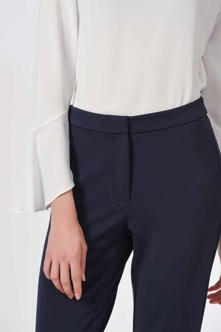 Basic Dar Paça Pantolon (Lacivert) - Thumbnail