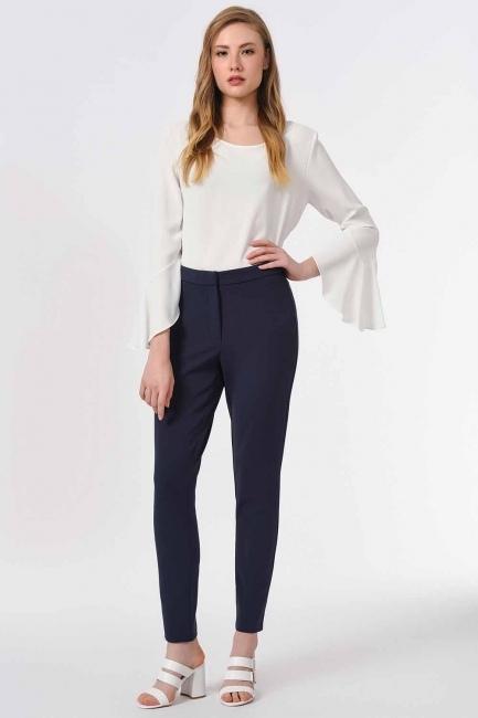 MIZALLE - Basic Dar Paça Pantolon (Lacivert) (1)