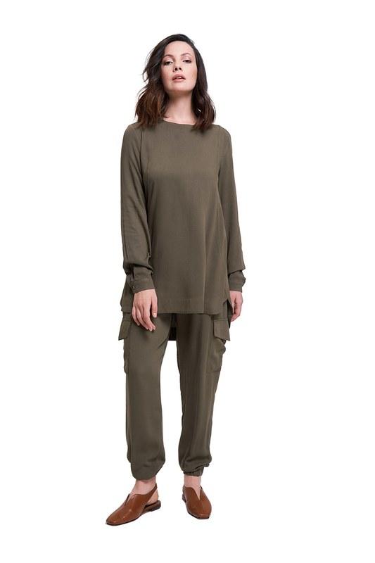 Basic Dökümlü Bluz (Haki)