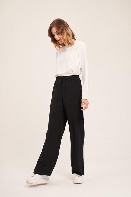 MIZALLE - Basic Elastic Waist Trousers (Black) (1)