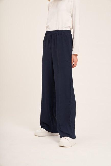 Mizalle - Basic Elastic Waist Trousers (Navy Blue) (1)