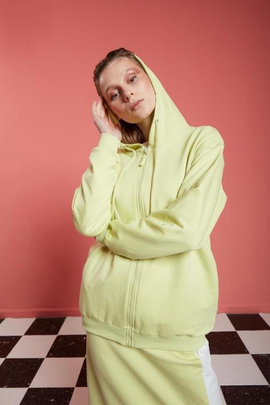 Basic Fermuarlı Sweatshirt (Açık Yeşil)