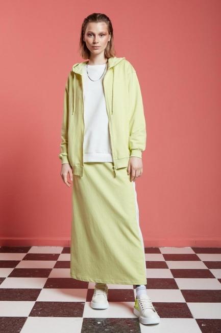 Mizalle - Basic Fermuarlı Sweatshirt (Açık Yeşil)