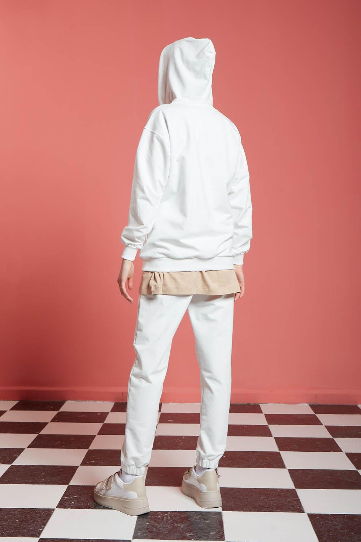 Basic Fermuarlı Ekru Sweatshirt