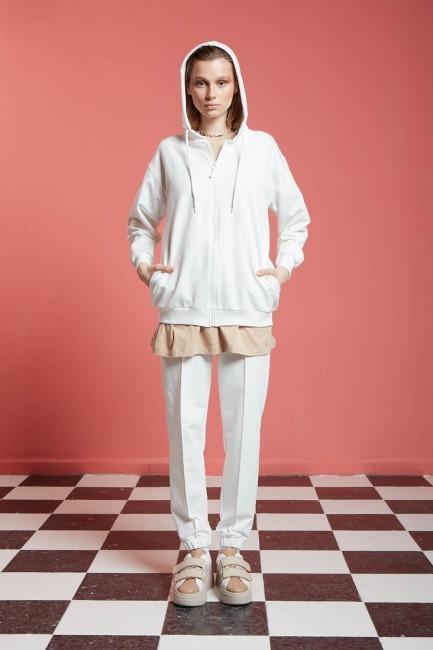 Mizalle - Basic Fermuarlı Sweatshirt (Ekru)