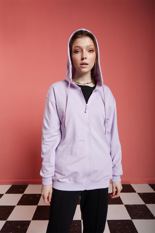 Basic Fermuarlı Lila Sweatshirt