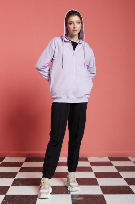 Mizalle - Basic Fermuarlı Sweatshirt (Lila)