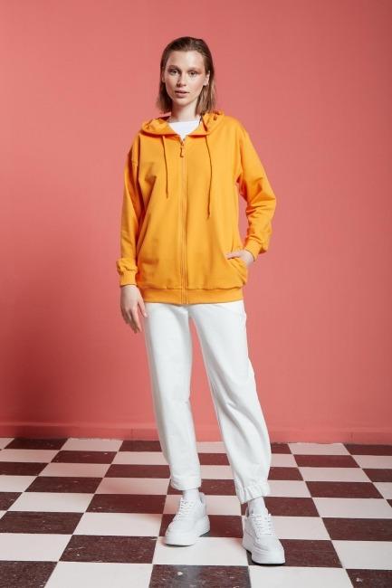 Mizalle - Basic Fermuarlı Sweatshirt (Mango)