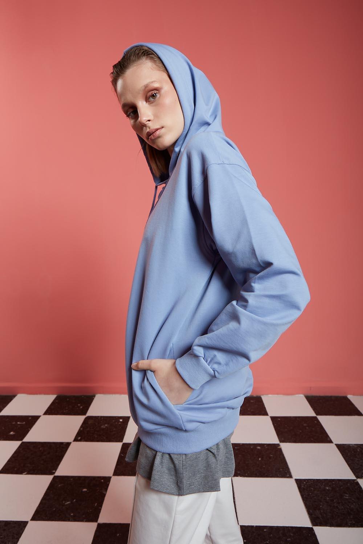 Basic Fermuarlı Mavi Sweatshirt