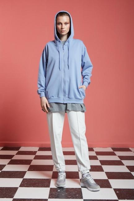 Mizalle - Basic Fermuarlı Sweatshirt (Mavi)