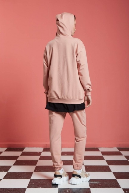 Basic Fermuarlı Sweatshirt (Nude) - Thumbnail