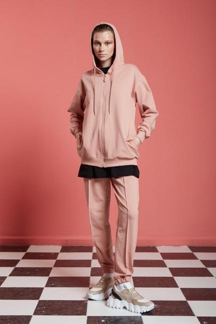 Mizalle - Basic Fermuarlı Sweatshirt (Nude)