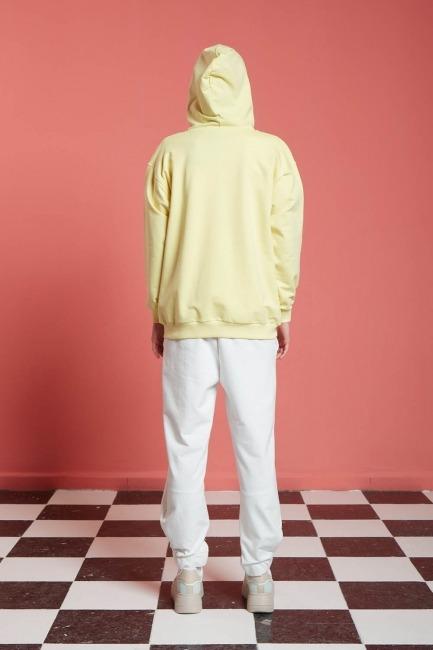 Basic Fermuarlı Sweatshirt (Sarı) - Thumbnail