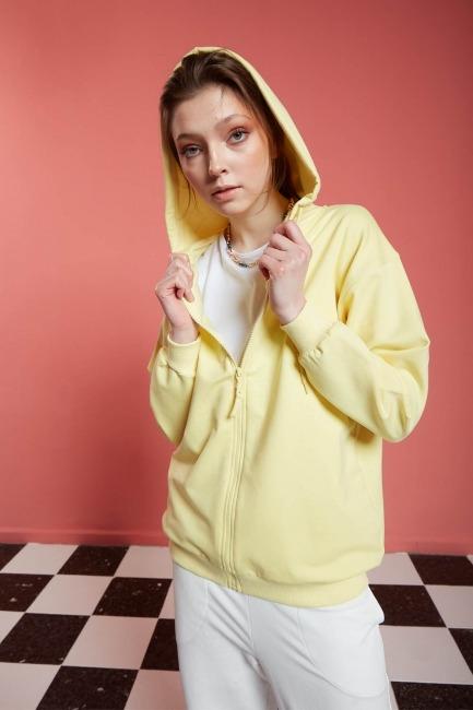 Mizalle - Basic Fermuarlı Sarı Sweatshirt