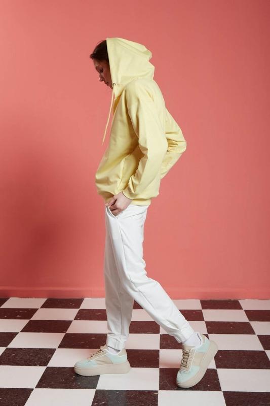Basic Fermuarlı Sweatshirt (Sarı)