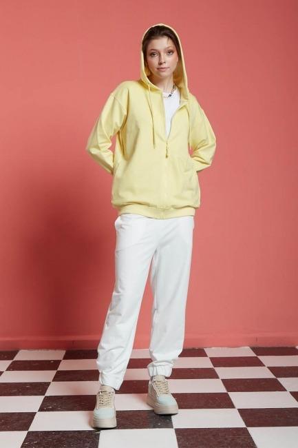 Mizalle - Basic Fermuarlı Sweatshirt (Sarı)