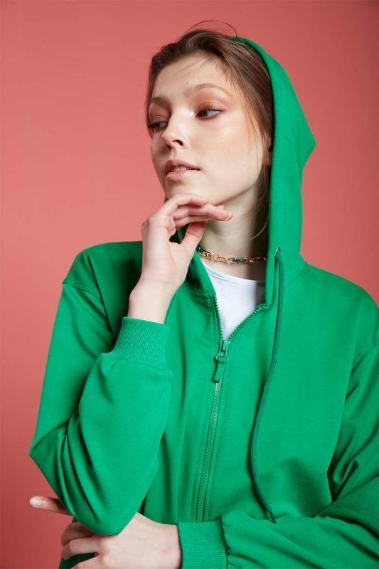 Basic Fermuarlı Sweatshirt (Yeşil)