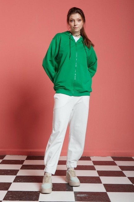 Basic Fermuarlı Sweatshirt (Yeşil) - Thumbnail