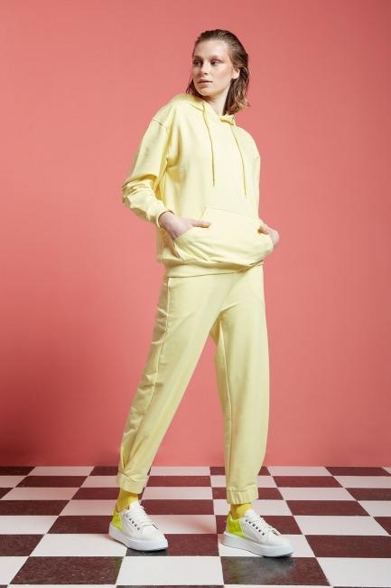 Basic Kapüşonlu Sweatshirt (Açık Sarı) - Thumbnail