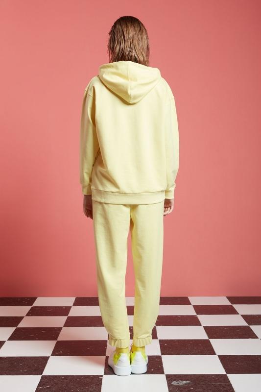 Basic Kapüşonlu Sweatshirt (Açık Sarı)