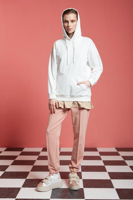 Basic Kapüşonlu Sweatshirt (Ekru)