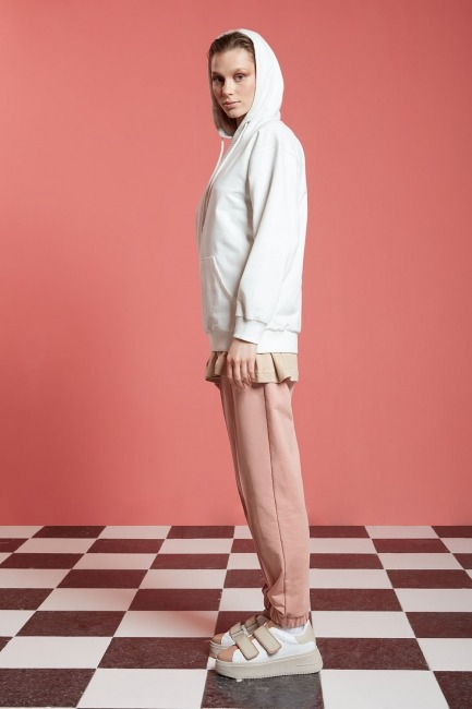 Basic Kapüşonlu Sweatshirt (Ekru) - Thumbnail
